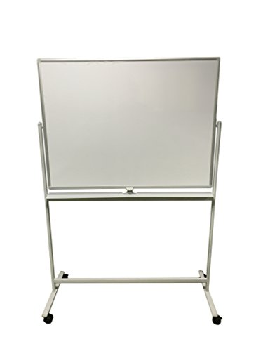 Induxpert Mobile Dry Erase Magnetic Whiteboard - Double-Sided - Perfect Size: 47 X 36 inches - Flip Sides Quickly With Lock/Unlock Feature - Sturdy Frame - Easy to Clean - Easy to Assemble