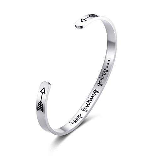 DODIY Mantra Bracelet Inspirational Bangle Gold/Silver Plated Bangle Jewelry for Teen/Girls/Women/Men Gift Keep Going Stainless Steel Engraved Personalized Engraved Gift