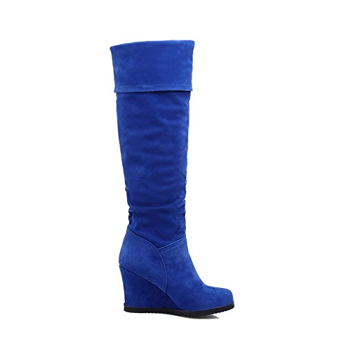 Boots Blue Frosted Bottom A Matching Thick Ladies amp;N Color Round Heel Toe wPwvBz