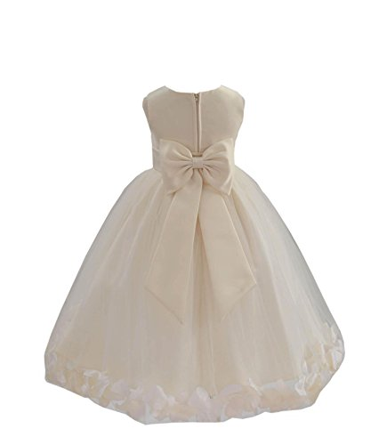 (Wedding Pageant Flower Petals Girl Ivory Dress with Bow Tie Sash 302a)