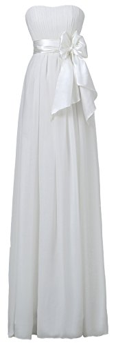 Ouman Sweetheart Bridesmaid Chiffon Prom Dresses Long Evening Gowns Ivory S