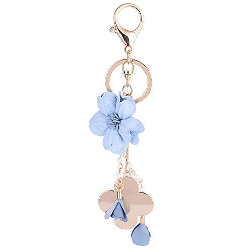 ZOONAI Flower Keychain Four-leaf Clover Car Keyring Holder Purse Handbag Pendant