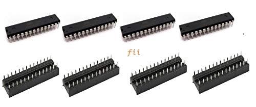 4-pack NEW Atmega328p-pu Chip & DIP IC Socket Bundle w/ Arduino UNO  Bootloader