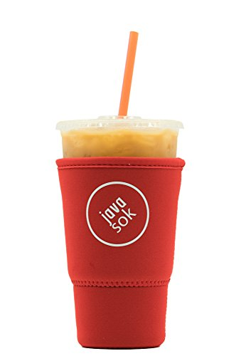 Mcdonalds Cup - JAVA SOK Reusable Iced Coffee Sleeve - Cup Insulator Sleeve for Cold Beverages and Neoprene Cup Holder | Ideal for Starbucks Coffee, McDonalds, Dunkin Donuts, More (32 oz Large, Red)