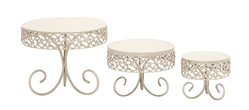 Deco 79 Metal Cake Stand, 12 by 10 by 7-Inch, Set of 3
