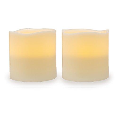 "Darice Battery Operated LED Wax Pillar Candle Set, 6"" , 2 Pi"