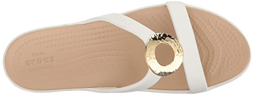 gold Crocs Ouvert Sanrah Hammered Women Metallic Blanc Bout Sandales Femme oyster vv4rqwY