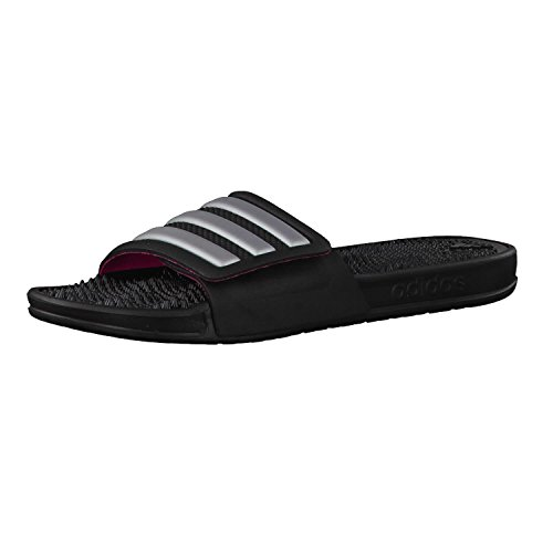 adidas Women's Adissage 2.0 Stripes Beach and Pool Shoes Black (Core Black/Silver Metallic/Shock Pink) 4dxYYyJ