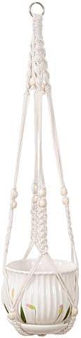 Macrame Plant Hanger-Outdoor Indoor Hanging Planter Holder Hanging Basket Flower Hangers Cotton Rope with Bead for Home Decor