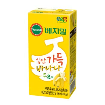 Vegemil Banana Soy Milk, Real Banana Juice added, Lactose Free; 1 Pack 190ml(6.4 fl oz); 베지밀 입안 가득 바나나 두유, (32 Packs)