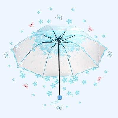 XYQY Umbrella Umbrella Women Apollo Fleurs de Cerisier Transparent Tri-Fold Umbrella Pliant Femme Cor/éen Japonais Fleur De Cerisier Umbrella Femmes///Bleu