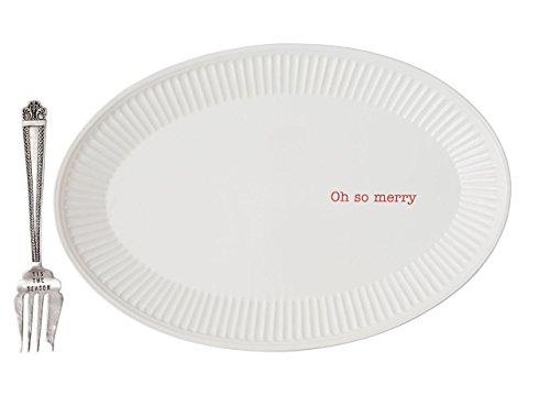 Mud Pie Ceramic Holiday Platter Set, Oh So Merry