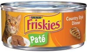 6 Cans of Purina Friskies Wet cat Food 5.5oz ea Pate Country Style Dinner