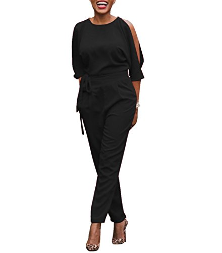 Chic-Lover Womens Elegant High Waisted Wide Leg Long Pants Jumpsuits Romper with Belt