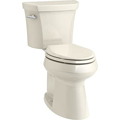 KOHLER K-76301-0 Highline Concealed Trapway Comfort Height Two-Piece Elongated 1.28 GPF Toilet with Class Five Flush Technology and Left-Hand Trip Lever