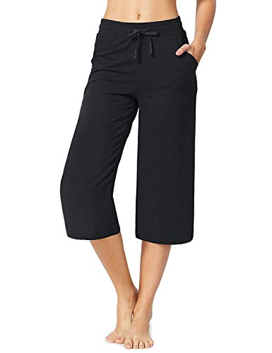 CUALITA Women's Active Yoga Lounge Capri Pants Adjustable Drawcord Lounge Pants with Pockets Black