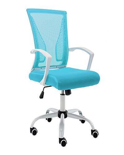 Modern Home Zuna Mid-Back Office Chair – White/Aqua