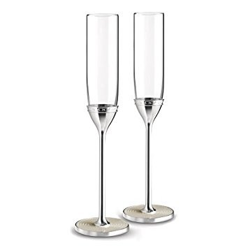 Wedgwood 40019711 with Love Nouveau Toasting Flute Pair, Clear (Wedgewood Silver Plated)