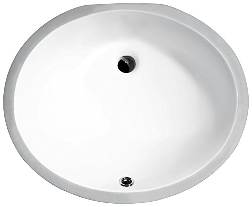 ANZZI Pegasus 18.25 in Ceramic Undermount Oval Basin Sink in Polished White | Overflow Built in Porcelain Bowl Bathroom Vessel Lavatory Sink Counter Top | cUPC & CSA Certified | ()