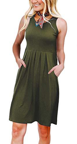 NENONA Women's Simple Plain T Shirt Pockets Dress Pleated Loose Swing Casual Dress Knee Length(Army Green-M)