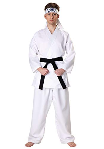 Adult Karate Kid Daniel San Costume Men's Karate Kid Costume Small White