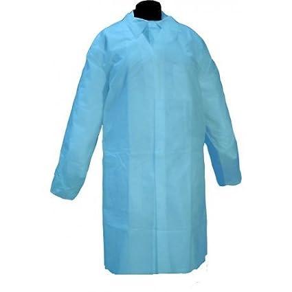 Bata desechable Azul en Polipropileno cierre velcro. Caja 50 uds
