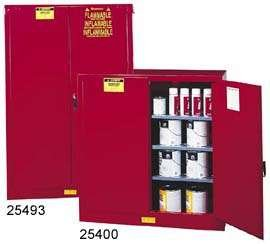 "JUSTRITE MANUFACTURING 894511 Red 18 Gauge CR Steel Sure-Grip EX Combustibles Safety Cabinet for Paint and Ink, 2 Manual-Close Door, 60 gal Capacity, 43"" W x 65"" H x 18"" D, 5 Shelves"