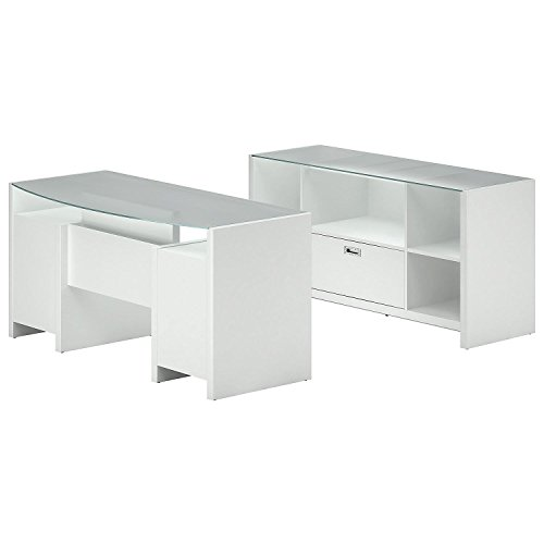 Bow Front Desk (kathy ireland Office by Bush Furniture Bow-Front Desk with Credenza, Plumeria White)