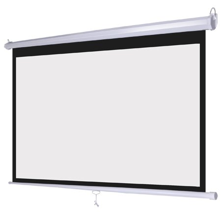 White Manual Pull Down Projection Screen 100″ Diagonal 16:9 Wide View Wall Ceiling Mount Steel Case for Home Movie Theater Office Video Presentation Projector