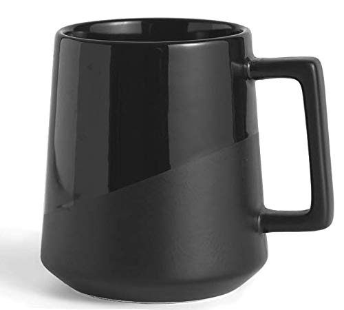 Dual Finish Glossy/Matte - Sleek Modern Design 16oz Black Mug (1 Mug) - Thick Grade A Quality Ceramic - Stain Free - Foam Packaging Gift Box - Perfect Gift - Ideal For Any Drink Including Coffee