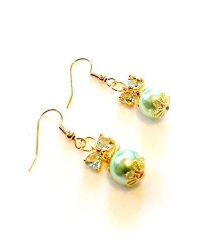 Mint Green Swarovski Pearl Earrings with Crystal Butterfly Wings, Gold Hypoallergenic or Nickel Free Ear Wires, Bridal Bridesmaids Wedding Jewelry ()
