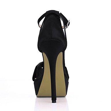 LvYuan Mujer-Tacón Stiletto-Confort-Sandalias-Boda Vestido Fiesta y Noche-Seda-Negro Rosa Marfil Black