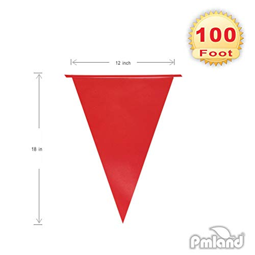 PMLAND Red Pennant Banners on 100 Feet Long String for Event Party Festival Décor ()