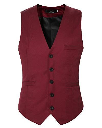 Hombre Fit Chaleco Informal Color De Negocios Casual Vestir Modernas Sólido Burgunderrot Slim 41w7qx5T