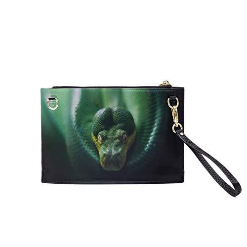 (Handbag Shoulder Bags Envelope Clutch Green Tree Python Morelia Viridis Clutch Purse For Women Wrist Leather Zipper Crossbody Bag Satchel Purse With Detachable Shoulder &wrist Straps)