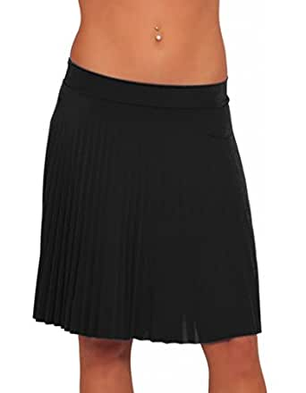 Accordion Electric Pleated Flare Chic Sophisticated Skirt, BLACK Large