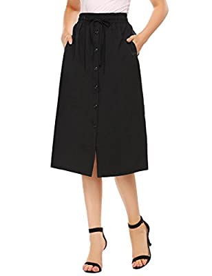 Shine Women's A-Line High Waisted Button Front Drawstring Pleated Midi Skirt with Elastic Waist Knee Length