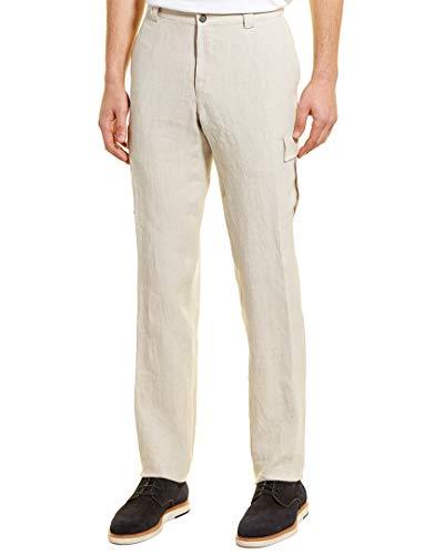 Hickey Freeman Mens Linen-Blend Pant, 33, Brown ()