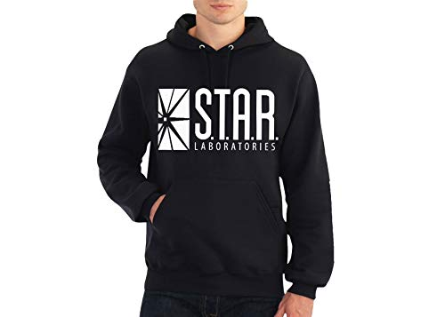 fresh tees Star Laboratories S.T.A.R. Labs Hooded Sweatshirt (Small, Black)