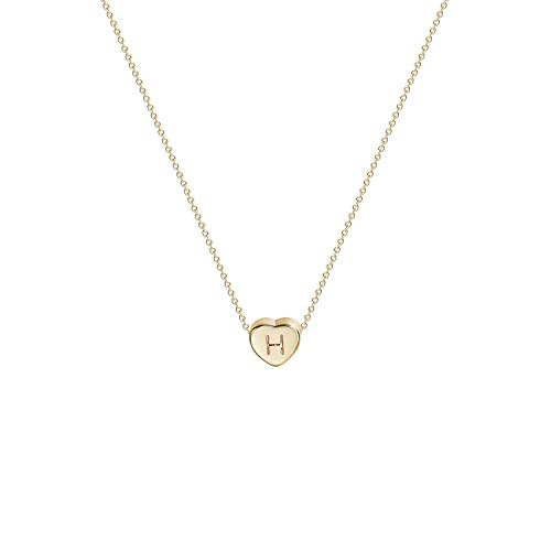 Tiny Gold Initial Heart Necklace-14K Gold Filled Handmade Dainty Personalized Letter Heart Choker Necklace Gift for Women Kids Child Necklace Jewelry Letter H -