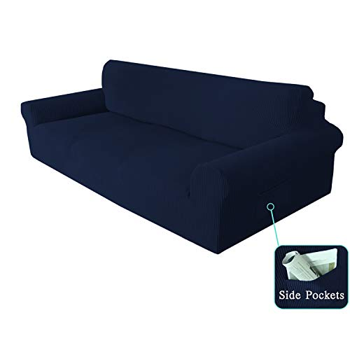SimpleHome 1-Piece Spandex 3 Seater Cushion Couch Cover Coat Slipcover, Furniture Protector Cover for Sofa and Couch (Sofa, Navy)