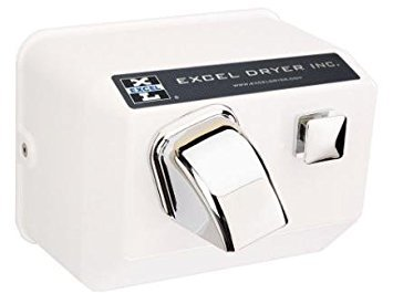 (Excel Dryer 76-W Hand Dryer Hands On, Push-Button, Cast Cover, Surface-Mounted, White Epoxy Paint, 110-120V 60Hz)