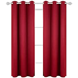 Deconovo Room Darkening Thermal Insulated Blackout Grommet Window Curtain Panel for Bedroom Room True Red 42x84-Inch 1 Panel