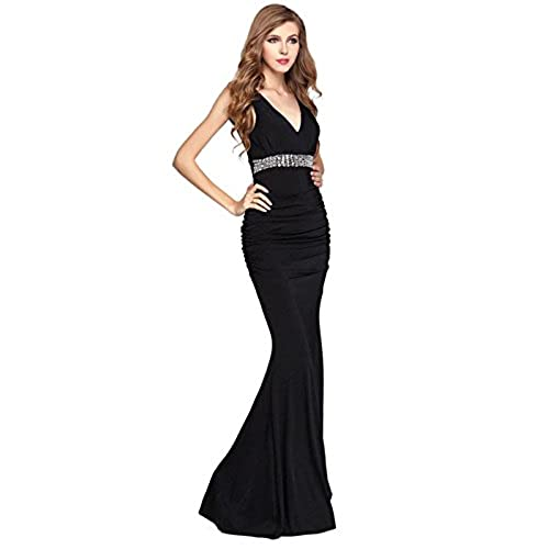 V.C.Formark Womens V Neck Mermaid backless Long Evening Party Prom Dress ,Black,M