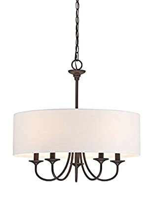 "Revel Quinn 21"" Traditional 5-Light Chandeiler + White Linen Drum Shade, Oil-Rubbed Bronze Finish"