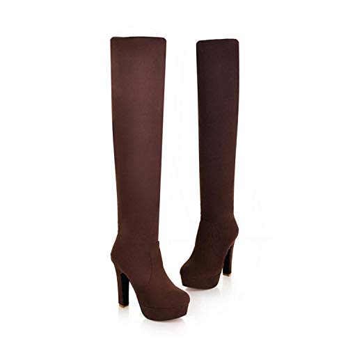 FS65a578zxc Women Boots Sexy Fashion Over The Knee Boots Sexy Thin Square Heel Boot Platform Woman Shoes,11MUS,Brown28 -