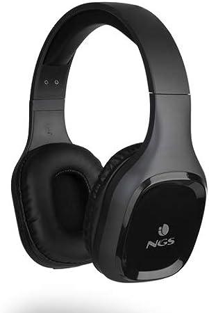 NGS Artica Sloth Black - Auriculares inalámbricos compatibles con Tecnología Bluetooth 5.0 (10h de autonomía, micrófono, Micro USB) Color Negro.