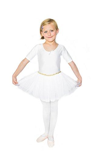 STELLE Toddler/Girls Cute Tutu Dress Leotard For Dance, Gymnastics and Ballet(XXS, White)