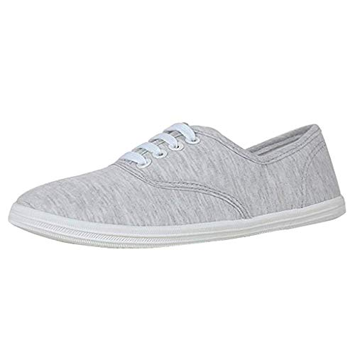 Canvas Flat Sneakers for Women,ONLYTOP Women Summer Sneakers Low Top Lace Up Lightweight Casual Slip on Shoes Grey