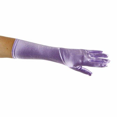 (Showstopper Shiny Satin Elbow Gloves for Girls (Lavender,)